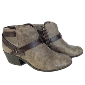 SODA Gray Distressed Ankle Bootie Brown Strap6-6.5